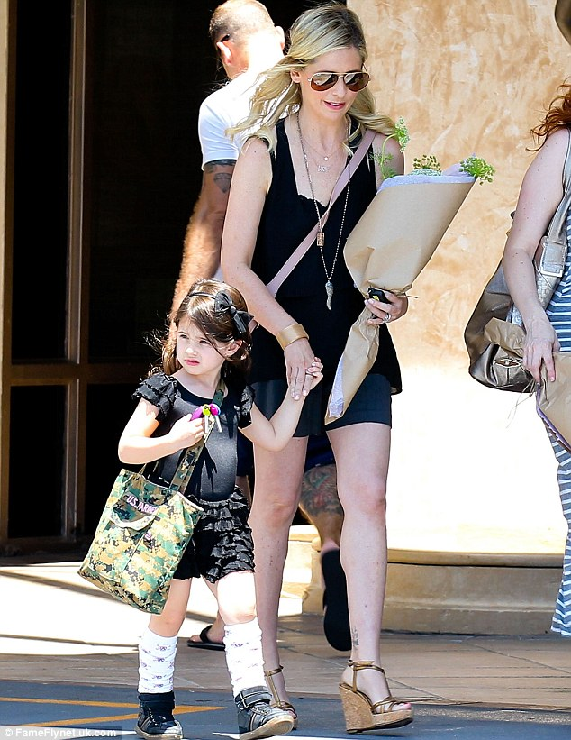 Perfectly cute: Sarah Michelle Gellar took her adorable daughter Charlotte to ballet class in Los Angeles on Saturday