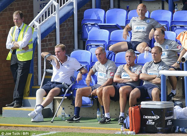 Laid up: Redknapp was on crutches for much of QPR's pre-season after a knee operation