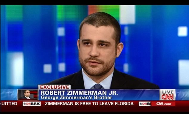 Danger: Robert Zimmerman, George Zimmerman's brother, told CNN last night that the family fear they will always be fearful of revenge attacks