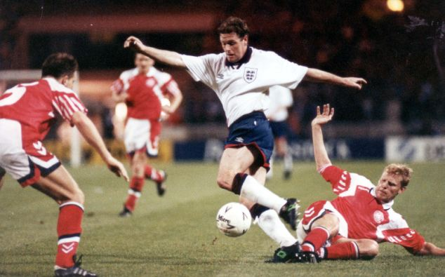 Gascoigne, pictured playing for England in 1994, has not been since seen Wednesday
