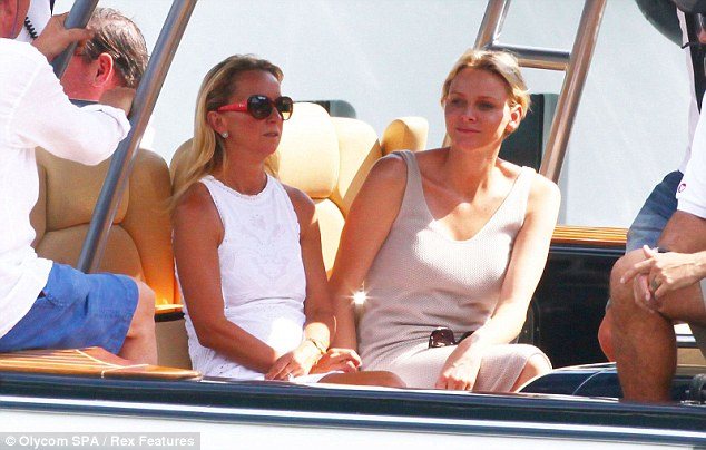 Relaxed: Princess Charlene was pictured enjoying a holiday with friends in Portofino earlier this month