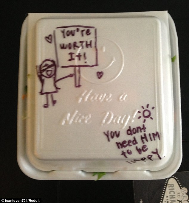 You're worth it! The staff at Truly Vegan in Los Angeles tried to perk up their recently-dumped customer