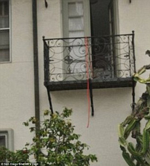 This is the balcony where Zahau was found hanging dead - bound and naked