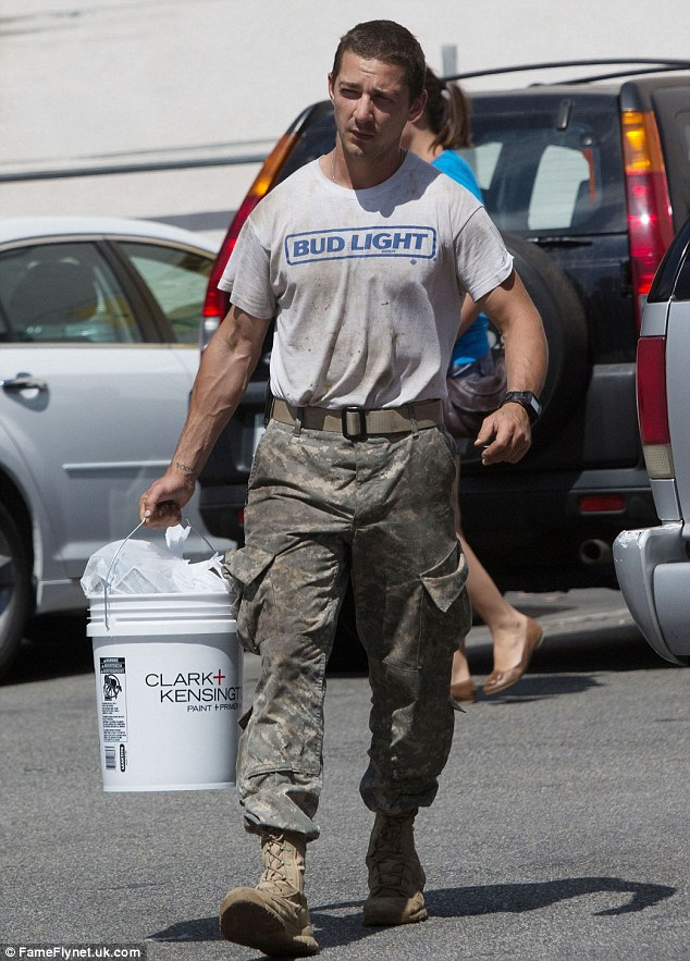 Handyman: Shia LaBeouf wore his now trademark military gear for a trip to a hardware store in Los Angeles, on Saturday