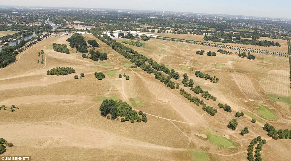 At Hampton Court Palace, the once lush grounds and adjoining golf course have turned brown and now look more like southern Spain