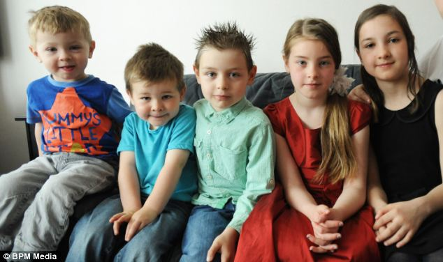 The couples' other five children (pictured from left to right: Liam, two, Milo, three, Ryan, seven, Paige, nine, Abbie, 11) were born all perfectly healthy so Oscar's health problems 'were quite a shock', according to mother Lois.