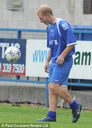 Blue is the colour: Scholes has turned out for Stalybridge before