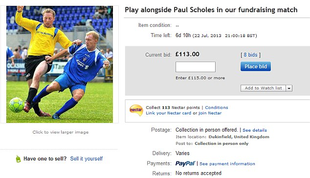 Start your bidding: The chance to play with Scholes would cost just £113 as of early Tuesday morning