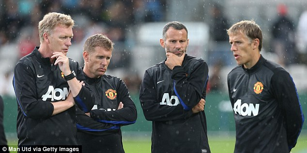 Chin-scratcher: (from left) David Moyes, assistant Steve Round, player-coach Ryan Giggs and coach Phil Neville ponder transfers and tactics as Manchester United trained in Sydney as part of their pre-season tour