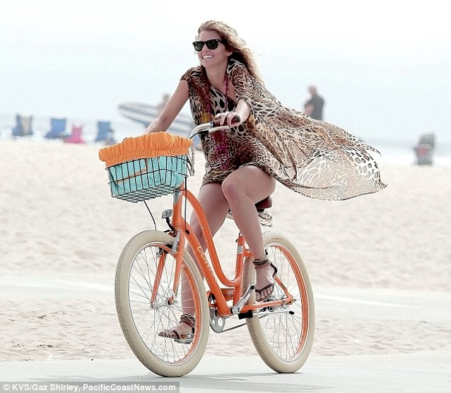 Active lifestyle: Later, the actress enjoyed a nice bike ride along the water