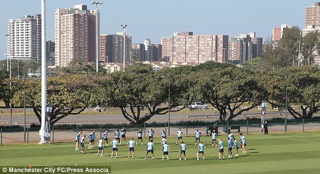 City slickers: Pellegrini's side train with Durban in the backdrop