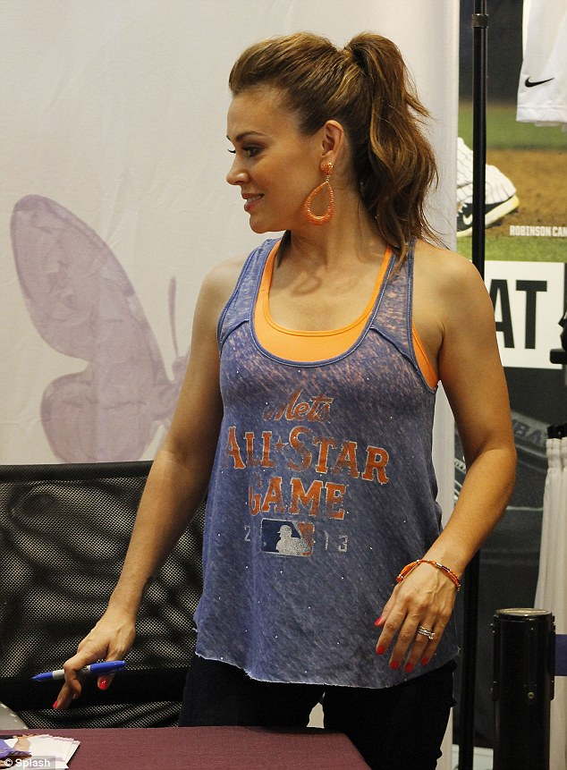 Sports fan: Mistresses star Alyssa Milano unveiled her new line of sports-inspired clothing Monday in New York City