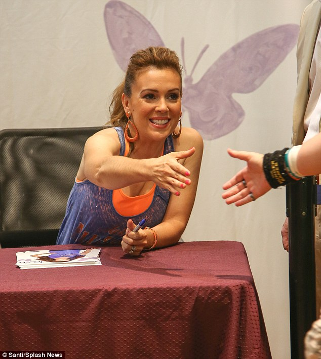Fan favourite: The Who's the Boss star greeted fans and signed autographs at the Modell's store in Times Square