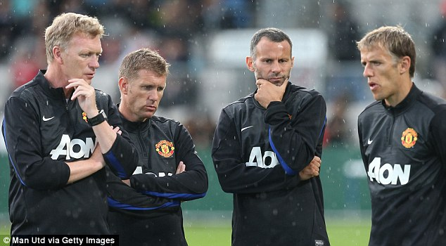 Plenty to ponder: David Moyes with assistant Steve Round, Ryan Giggs and coach Phil Neville during training