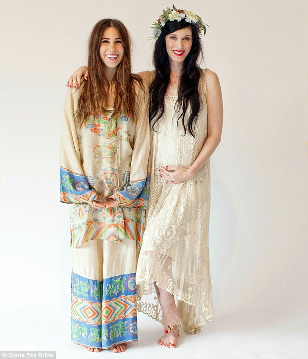 Bridal wear: The Girls star joins a heavily pregnant The Citizens Band founder, Sarah Sophie Flicker, to model the line's Second Life Vintage floor-length dresses and silk kimonos