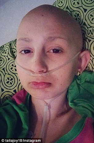 Barely there: Talia wasn't afraid to show the effects of chemotherapy, and hoped her openness would help other young cancer suffers