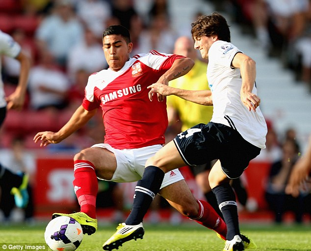 Fight for the ball: Cristian Ceballos tangles with Massimo Luongo of Swindon