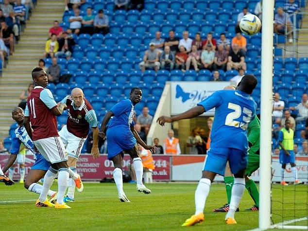 Bullet: James Collins' header doubled West Ham's lead