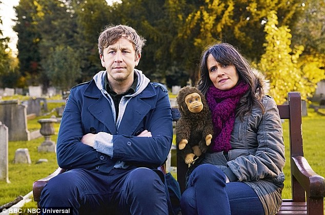 No laughs: Family Tree features rising Hollywood star Chris O'Dowd (left) as Tom Chadwick and ventriloquist Nina Conti (right), as the hero's sister Bea, who is obsessed with a glove puppet called Monkey