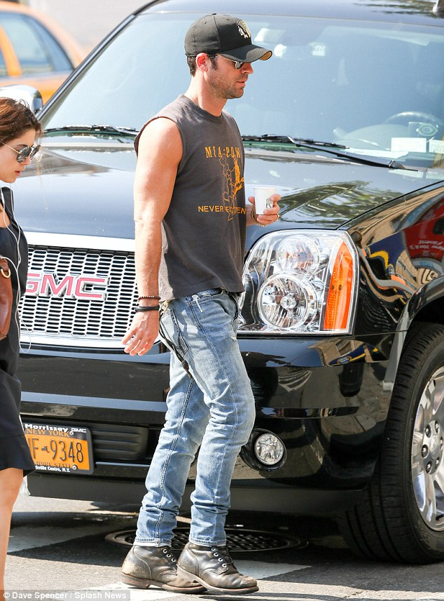 Devoted partner: Jennifer's fiance Justin Theroux was spotted headed to the star's trailer for a visit