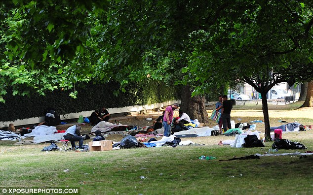 Scrappy: The camps have been described as 'shanty towns' and local residents say they are making their lives a misery