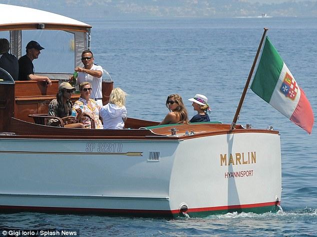 Foreign flag: The 52-foot long wooden sailing vessel flies an Italian flag, even tough it still bears Hyannisport as its home port