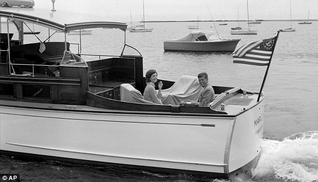 After being elected president, Kennedy (pictured when he was a senator with his wife Jacqueline in Nantucket) held important meetings with his cabinet on the family yacht