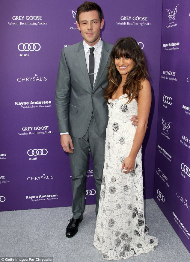 'Tragic accident': The coroner has revealed that Cory, seen here with Lea on June 8, died from a heroin and alcohol overdose