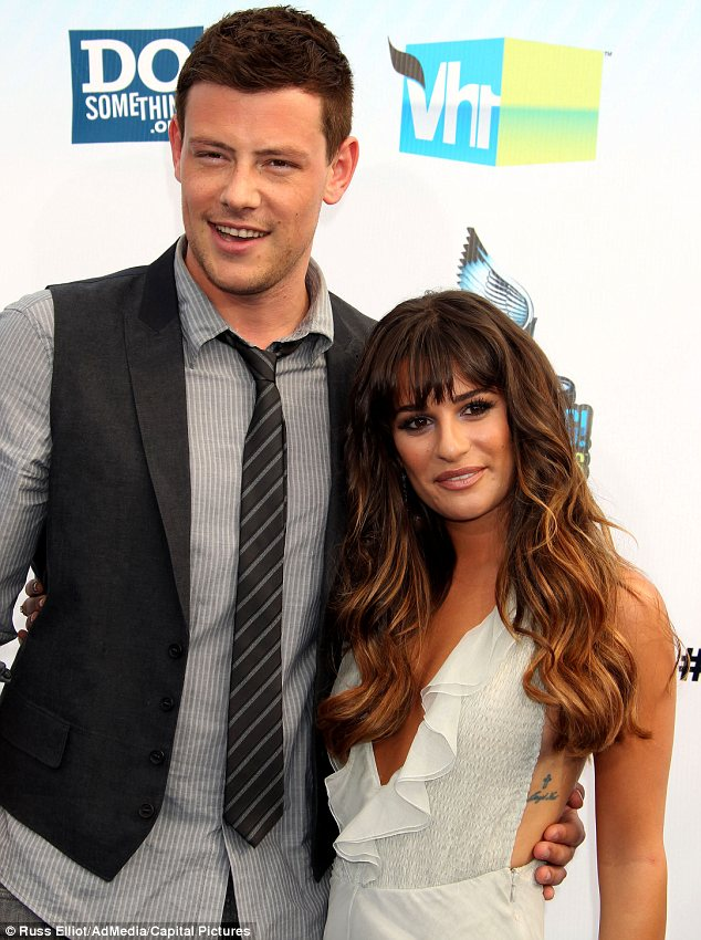 Seeking solace: Lea Michele has been grieving with boyfriend Cory Monteith's family since his death on Saturday