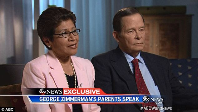 Their side: Gladys and Robert Zimmerman spoke out for the first time in an interview taped on Monday, saying that they fear for their son's life