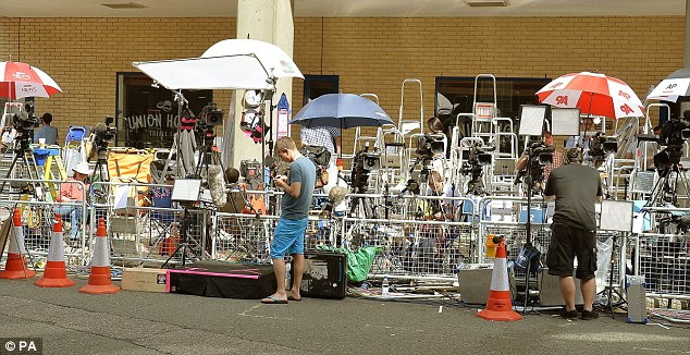 Row upon row of ladders mark each photographer's pitch outside the Lindo Wing of St Mary's, Paddington, where the royal baby will be born