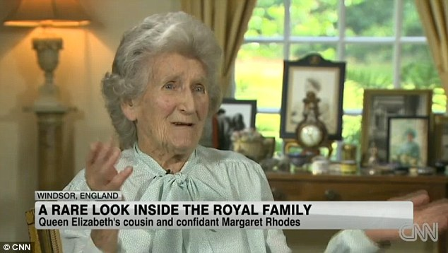 Sangfroid: The Queen's first cousin, 88-year-old Margaret Rhodes, says she is 'not terribly' excited about the impending birth of the Duke and Duchess of Cambridge's baby