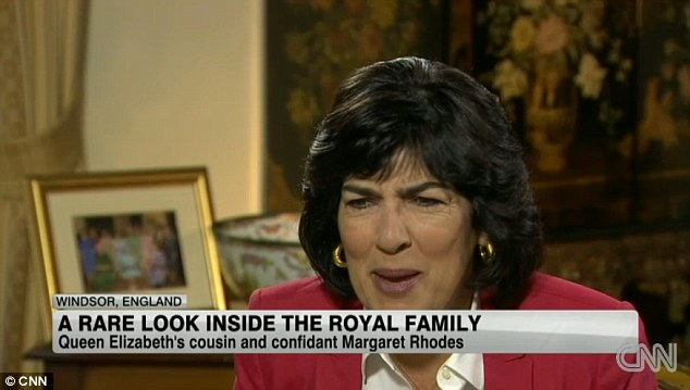 'Heir to the throne?  History?' An incredulous Christiane Amanpour reacts to Mrs Rhodes' confession