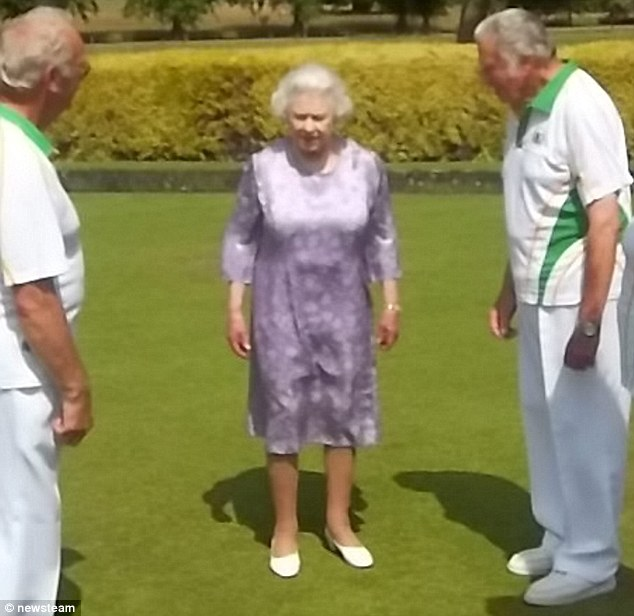 Wearing an elegant lilac dress, the Queen politely asks bowlers if they mind her watching their match