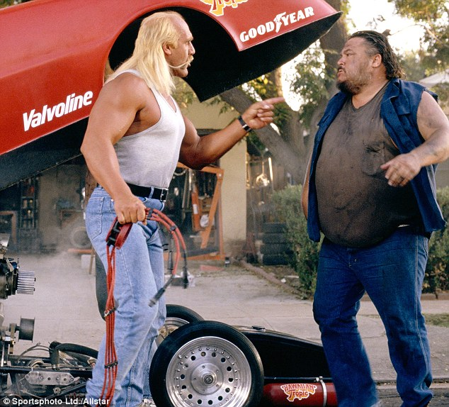 Screen star: Dennis with Hulk Hogan in 1991 film Suburban Commando