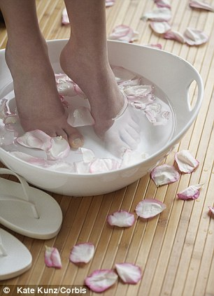 Perfect pedicure: A soak in bath salts can soothe aching feet