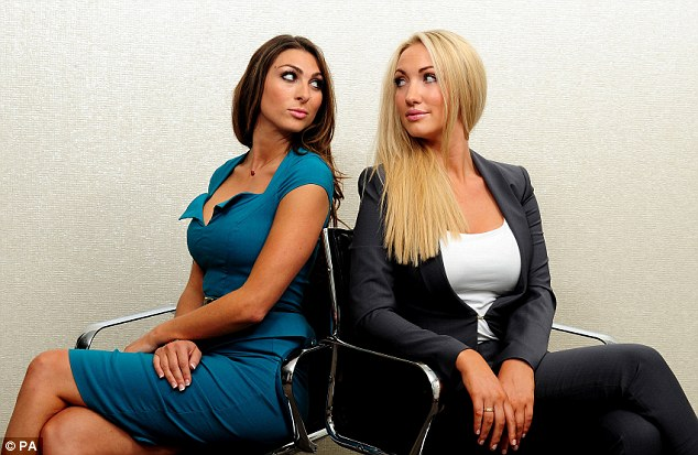 The winner of The Apprentice 2013, cosmetic enhancement expert, Leah Totton (right) spots a wrinkle she would like to exterminate. Meanwhile runner-up, baking entrepreneur Luisa Zissman measures up Leah's face for a custard pie