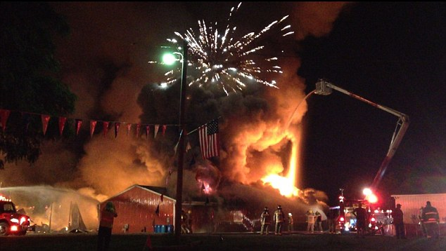 Spectacular: An Indiana fireworks store explosion Wednesday night gave residents a free show