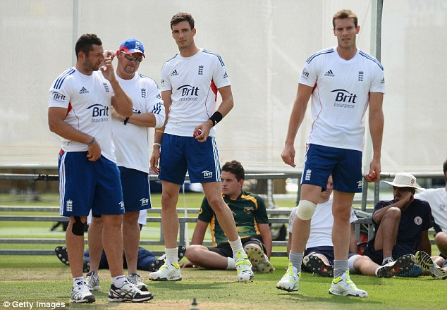 Bowl-off: Bresnan (left), Finn (centre) and Tremlett (right) train at Lord's on Wednesday