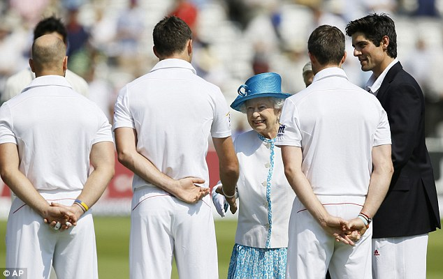 By Royal appointment: Alastair Cook introduces his side to the Queen