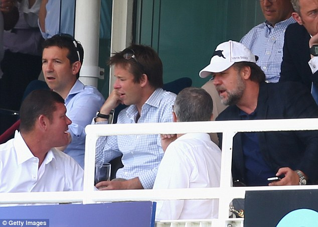 He comes from the land Down Under: Australian actor Russell Crowe (right) watches on