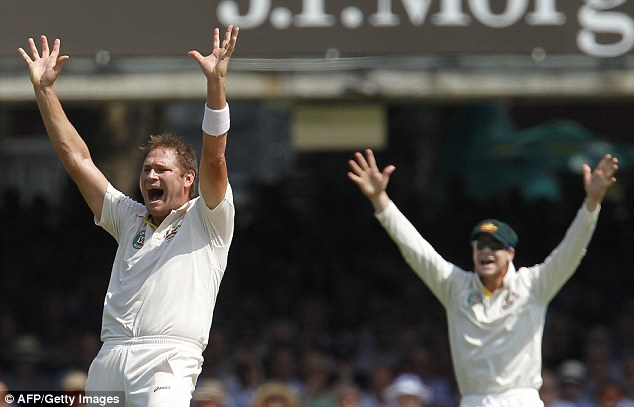 Put your hands up: Ryan Harris appeals for the wicket of Joe Root
