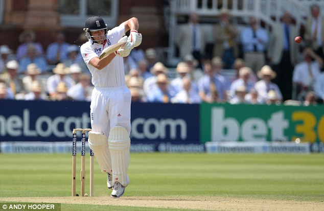 Leading the way: Trott edged closer to his 50 after lunch