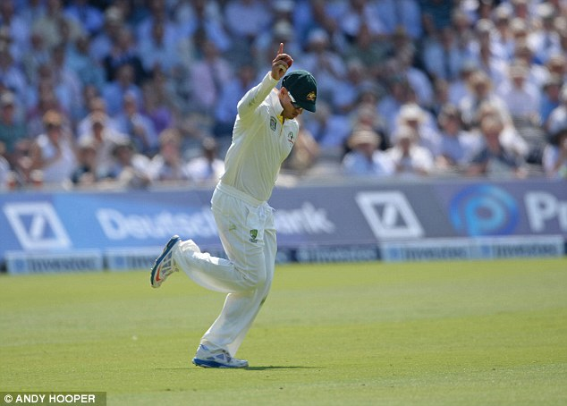Catch of the day: Usman Khawaja holds on in the deep to remove Jonathan Trott