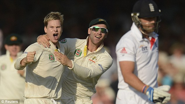 Surprise star: Steve Smith (left) took three late wickets for Australia