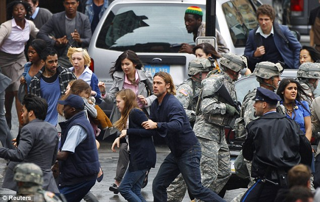 Apocalyptic: Actor Brad Pitt earned £6million for his role in zombie movie World War Z, much of which was filmed in Glasgow