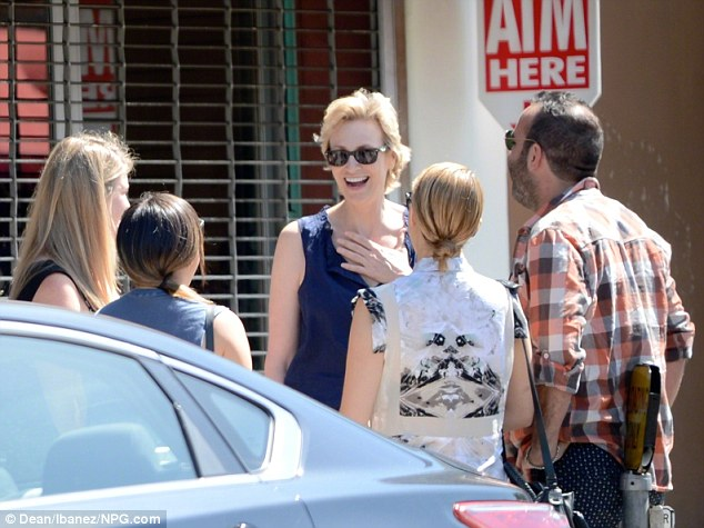 Friendly face: Jane Lynch joined Jenna and Dianna and some other friends for the lunch