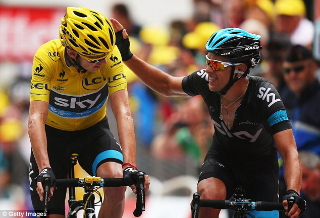 Thanks pal: Richie Porte was immense in leading his team-mate up to the top of the brutal climbs