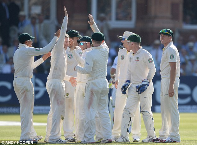 Late sting: Two late wickets by part-timer Steve Smith put Australia back on top