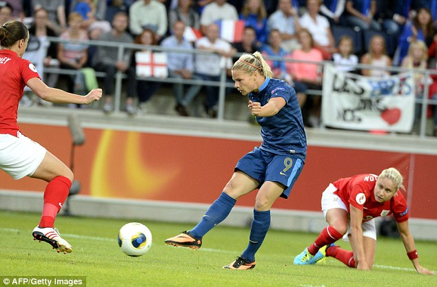 On the scoresheet: Le Sommer drew first blood for France with this strike